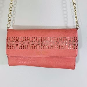 Nicole Miller Coral and Gold Crossbody
